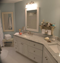 Roswell bathroom remodeling, white shaker cabinets, granite countertop