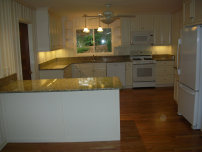 Marietta kitchen remodeling, cabinets, granite countertop, backsplash, wood floor installation